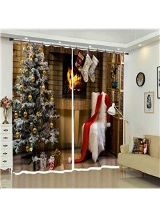 Christmas Tree with Fluffy Chair Cozy Home for you 3D Curtain