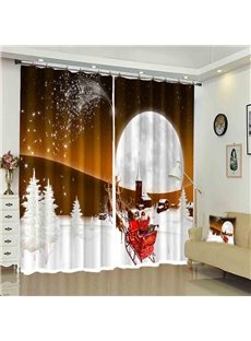 Santa in Sleigh White Moon Snow Ground Christmas Curtain