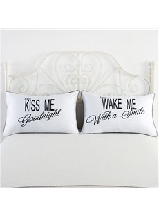 One Pair Kiss Me and Wake Me Printed Couple Pillowcase
