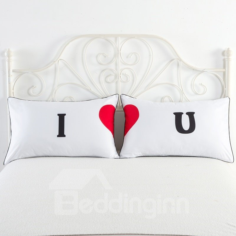 I and Red Love Pattern Simple Printed Couple Pillowcase for Valentine