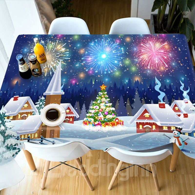 Christmas European Style Waterproof Rectangle Printed 3D Tablecloth