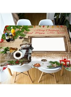 Printed Christmas Polyester European Style Waterproof 3D Tablecloth