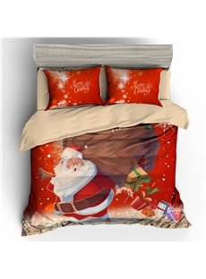 Santa Carrying Gifts Merry Christmas 3D 3-Piece Bedding Sets/Duvet Covers