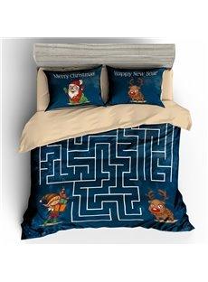 Santa and Reindeer Maze Printed 3D 3-Piece Christmas Bedding Sets/Duvet Covers