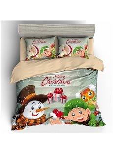 Snowman Children and Presents Merry Christmas 3D 3-Piece Bedding Sets/Duvet Covers