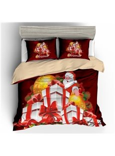 Smiling Santa and Christmas Presents Printed 3D 3-Piece Bedding Sets/Duvet Covers