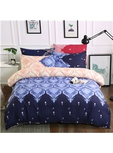 Purple Flower Pattern Printing Royal Style Polyester 3-Piece Bedding Sets/Duvet Cover
