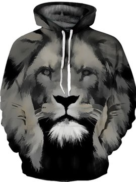 Pullover Loose Model Polyester Lightweight Casual Style 3D Painted Hoodie