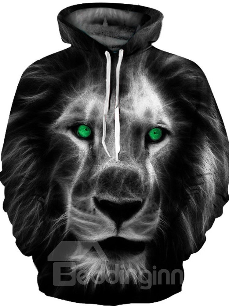 Pullover Vivid Color Polyester Workout Lion 3D Painted Hoodie