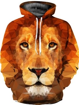 Loose Model Casual Style Lightweight Kangaroo Pocket 3D Painted Hoodie