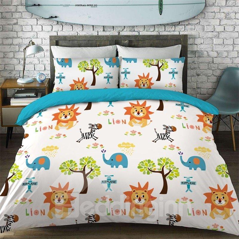 Cartoon Lion Pattern Cotton Material 4-Pieces Kids Bedding Sets/Duvet Cover