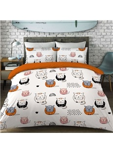 Cute Cats Pattern Cotton Material 4-Pieces Kids Bedding Sets/Duvet Cover