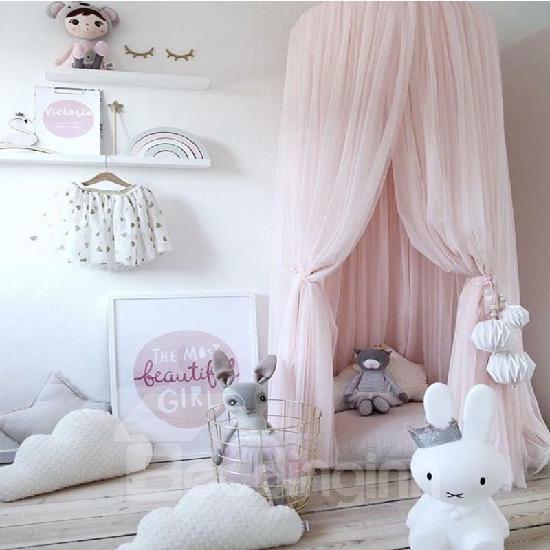 Home Decor Pink Canopy Dome Princess Style Playing With Children Lace Netting Curtains