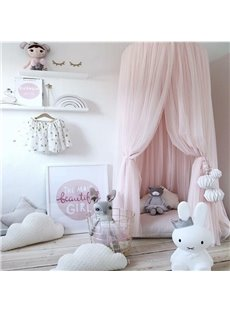 Dreamlike Princess Style Chiffon Fabric Home Decor Kids Pink Round Canopy