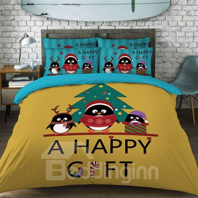 Christmas Penguin Pattern Cotton Material 4-Pieces Kids Bedding Sets/Duvet Cover