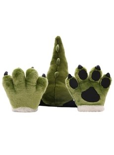 Cute Plush Dinosaur and Leopard Tail and Paws for Child Toy Decor