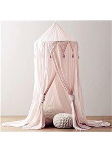 Chiffon Fabric Princess Style Tassels Decor Kids Pink Round Canopy
