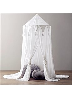 Chiffon Fabric Princess Style Tassels Decor Kids White Round Canopy