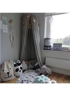 Cotton Fabric Princess Style Home Decor Kids Grey Round Canopy