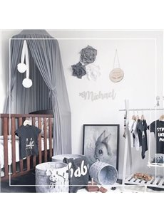 Nordic Style Chiffon Fabric Home Decor Kids Grey Round Canopy