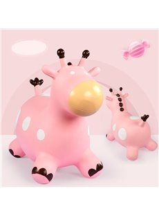 Creative Pink Giraffe Shape Thicken PVC Material Kids Toy Jumping Horse