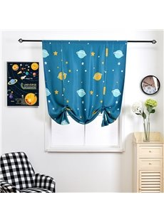 Little Universe Navy Blue Cartoon Design for Kids Shade Blackout
