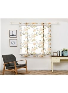 Yellow Floral Pattern Pastoral Style Shade For Window of Kitchen