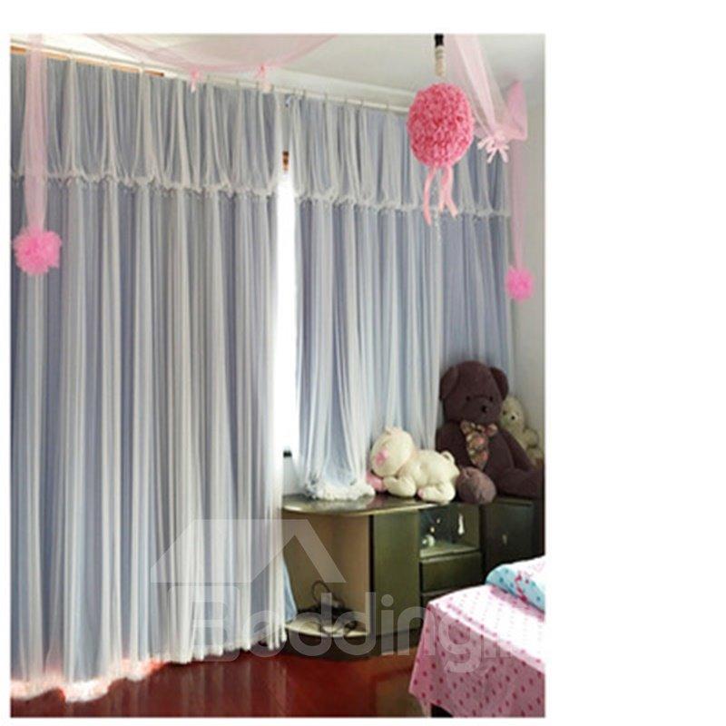 Double Lace Royal Princess Style Pure Light Color Curtain One Piece