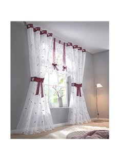 Purple Line Whiter Pastoral Style Shading Sheer For Decoration