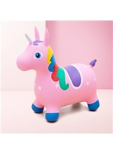 Creative Pink Unicorn Shape PVC Material Kids Toy Jumping Horse