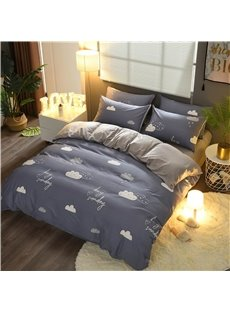 Clouds Printing Blue and Grey Cotton and Velvet 4-Piece Bedding Sets/Duvet Cover