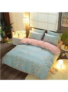 Flower Printed Light Green Cotton 4-Piece Bedding Sets/Duvet Cover