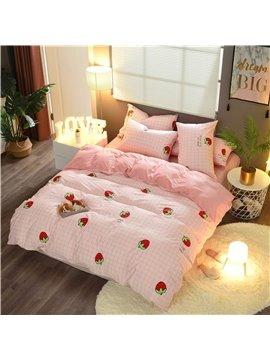 Strawberry Printed A B Version Fabric Cotton 4-Piece Pink Bedding Sets/Duvet Cover