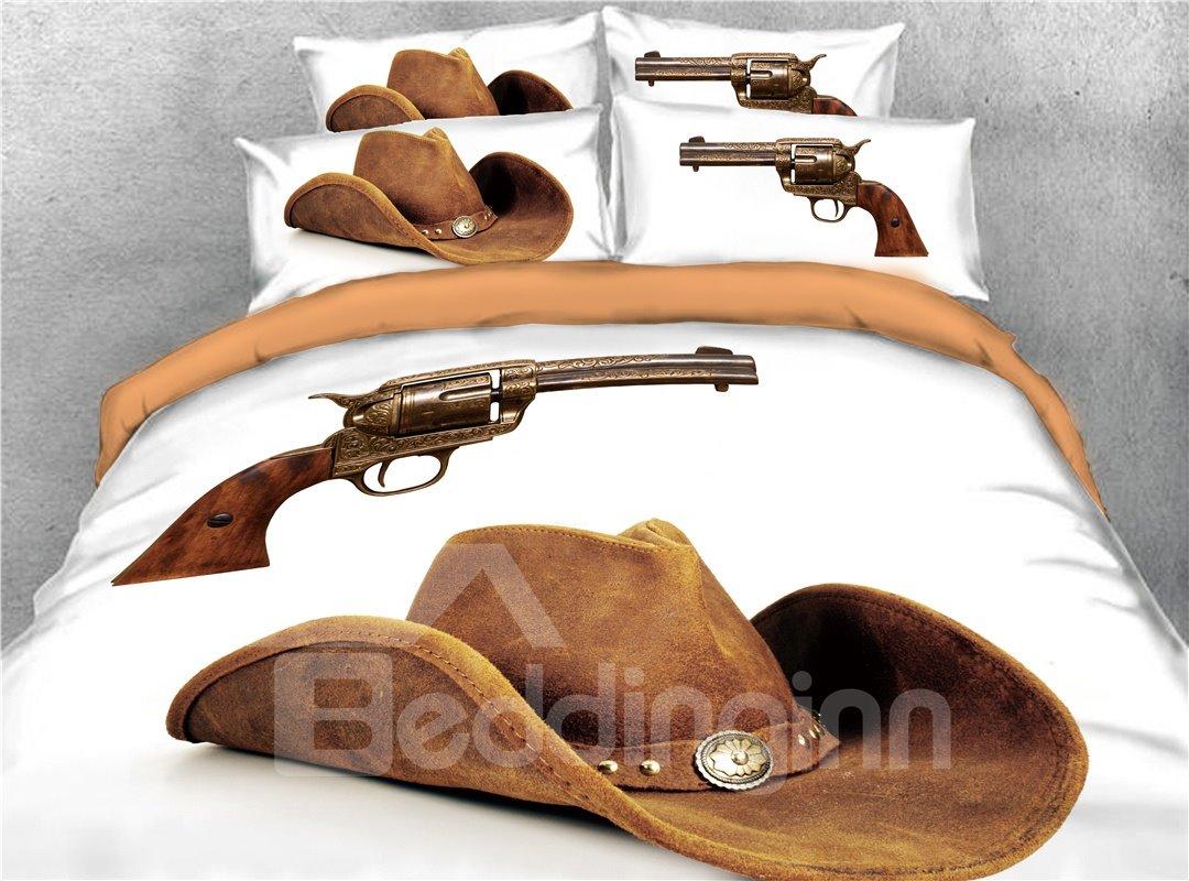 Cowboy Hat and Gun Printed 3D 4-Piece Bedding Sets/Duvet Covers