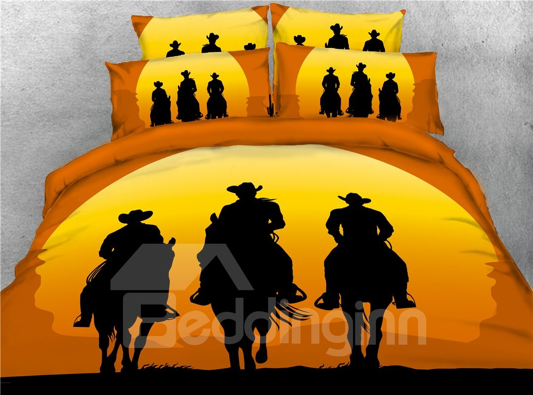 Cowboy Riding Horse Shadow Printing 3D 4-Piece Bedding Sets/Duvet Covers