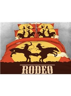 Rodeo Cowboy Riding Wild Horse at Sunset Printed 3D 4-Piece Bedding Sets/Duvet Covers