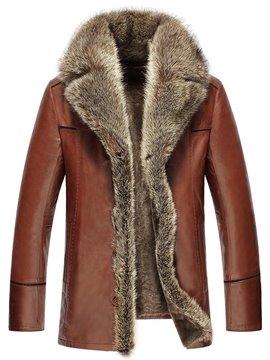 Lapel PU Button Single-Breasted Slim Model Coat