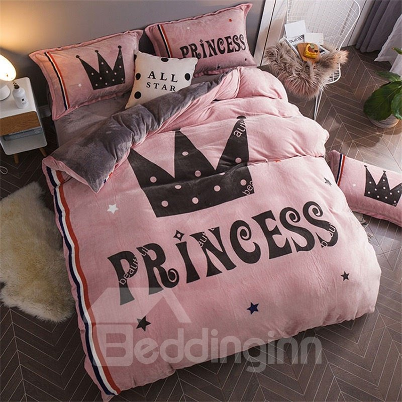 Princess Crown Reversible Flannel Warm Kids 4-Piece Fluffy Bedding Sets/Duvet Cover