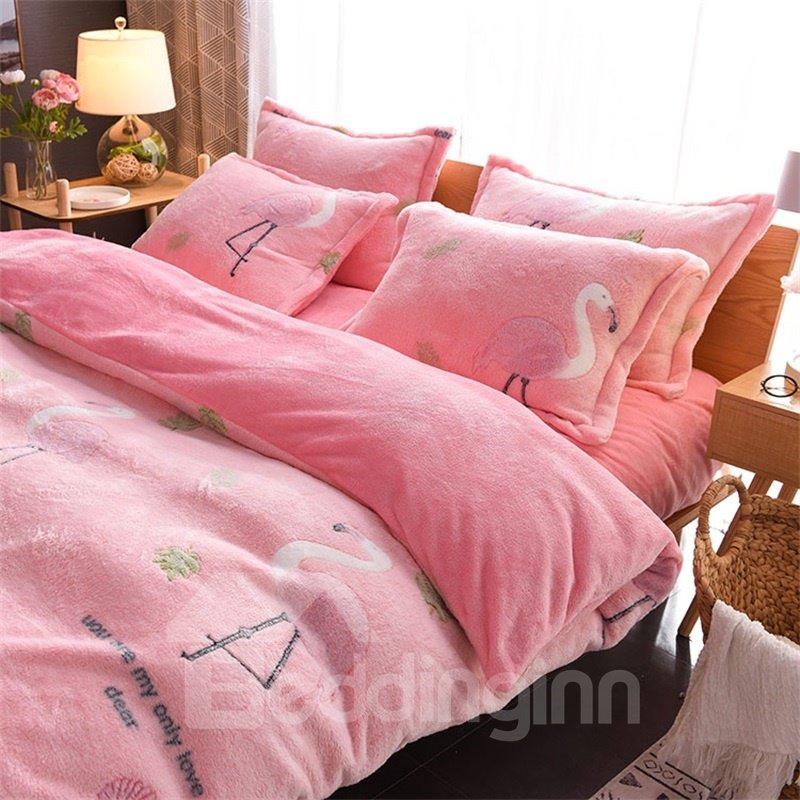 Pink Flamingo Reversible Flannel Warm Kids 4-Piece Fluffy Bedding Sets/Duvet Cover