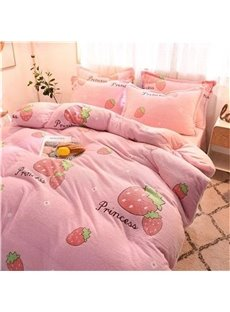 Reversible Flannel Warm Pink Strawberry Kids 4-Piece Fluffy Bedding Sets/Duvet Cover