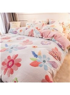 Reversible Flannel Warm White Flower Kids 4-Piece Fluffy Bedding Sets/Duvet Cover