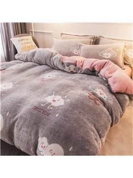 Grey Reversible Flannel Warm Cloud Kids 4-Piece Fluffy Bedding Sets/Duvet Cover