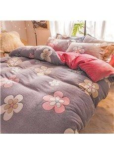 Grey Reversible Flannel Warm Flower Kids 4-Piece Fluffy Bedding Sets/Duvet Cover
