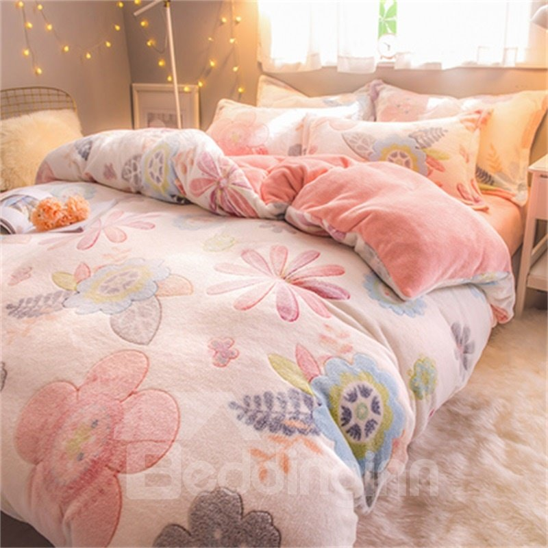 White Reversible Flannel Warm Flower Kids 4-Piece Fluffy Bedding Sets/Duvet Cover