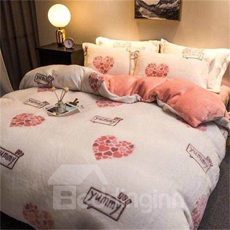 White Reversible Flannel Warm Love Heart Kids 4-Piece Fluffy Bedding Sets/Duvet Cover