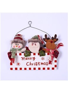 3 Mascots for Christmas Wooden Hanging Sign Door Decor