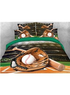 Catcher's Mitt Baseball Court Printed 4-Piece 3D Bedding Sets/Duvet Covers