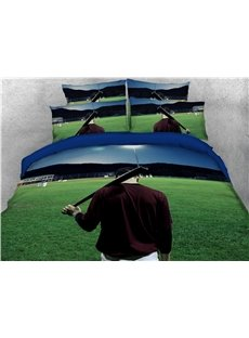 Baseball Player and Green Grass Printed 4-Piece 3D Bedding Sets/Duvet Covers