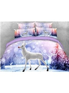 White Reindeer and Snow Covered Christmas Tree Printed 3D 4-Piece Bedding Sets/Duvet Cover