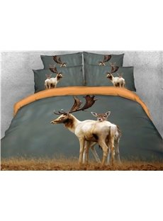 Reindeer and Deer Printed 3D 4-Piece Cotton Bedding Sets/Duvet Cover